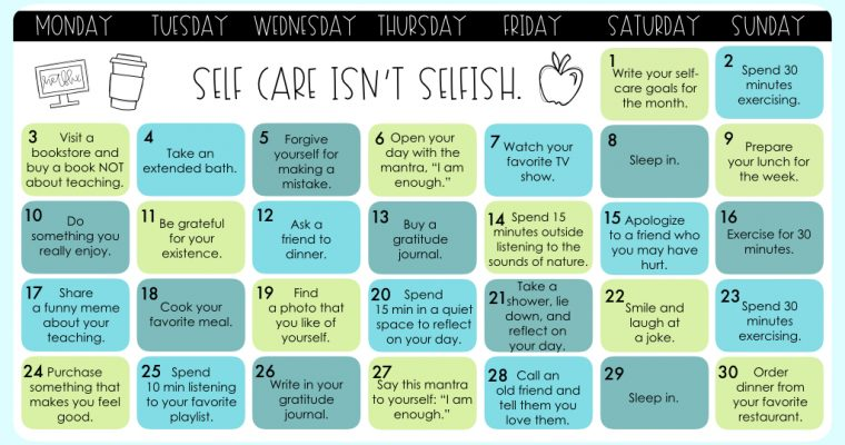 [September] Teacher Self-Care Calendar For Teachers